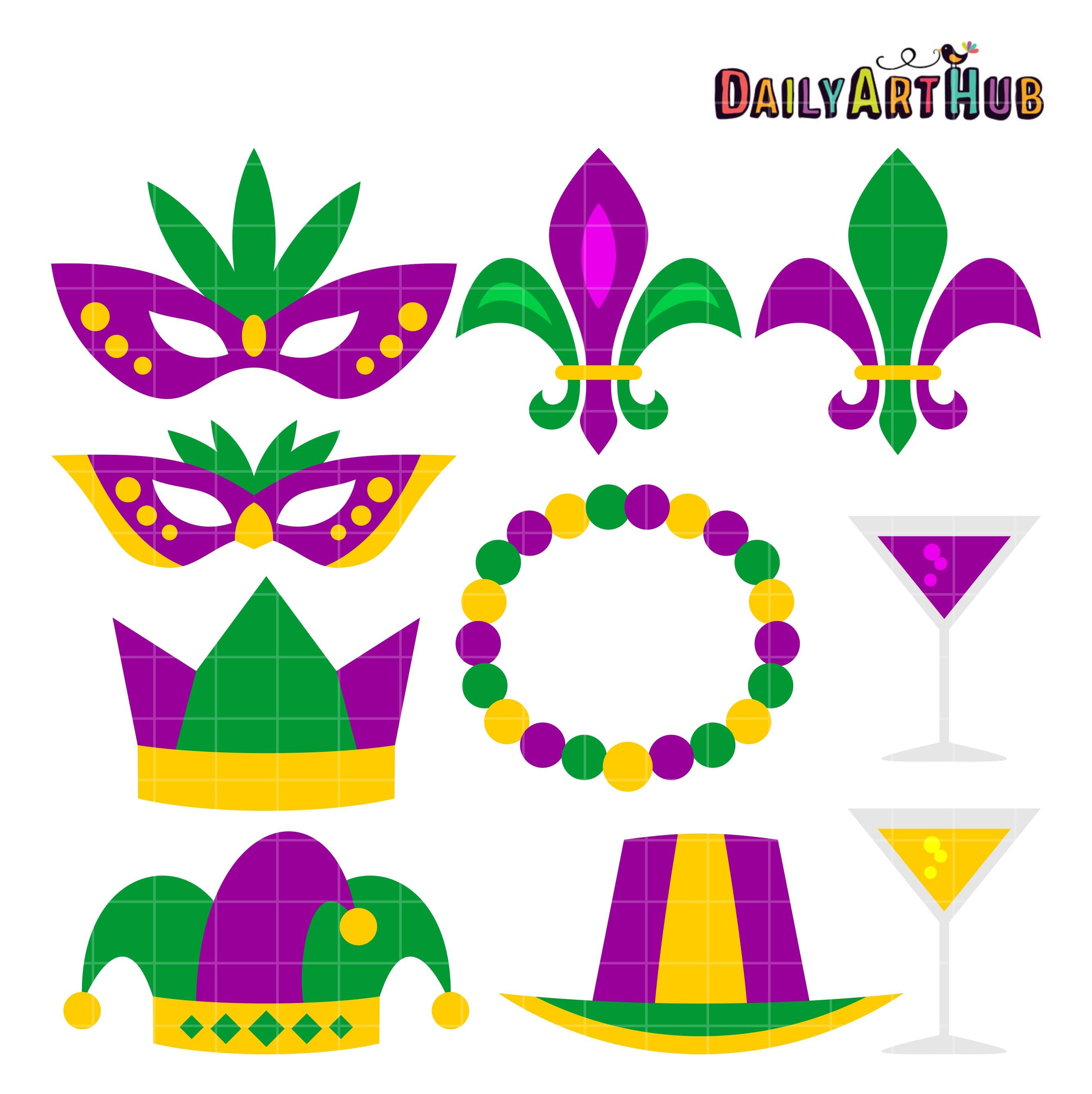 mardi gras clip art set - Mardi Gras Beads Clipart