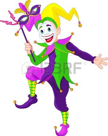 mardi gras mask: Clip art illustration of a cartoon Mardi Gras jester holding a mask