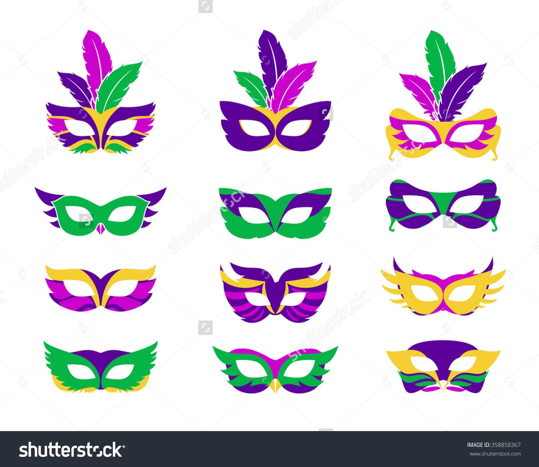 Mardi gras mask, vector mardi gras masks isolated on white