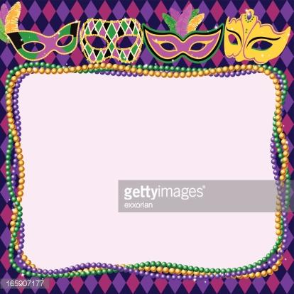 Mardi Gras Masks U0026amp; Beads Border -Mardi Gras Masks u0026amp; Beads Border : Vector Art-15