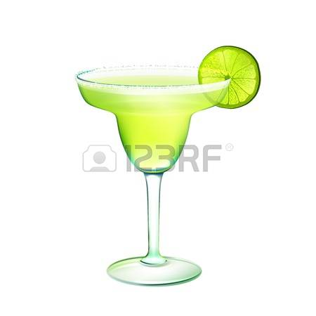margarita glass: Margarita realistic cocktail in glass with lime slice isolated on white background vector