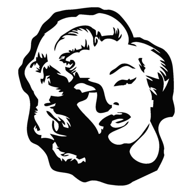15cm*17cm Marilyn Monroe Cartoon Car Sty-15cm*17cm Marilyn Monroe Cartoon Car Styling Decor Vinyl Car Sticker  Black/Silver S3-11