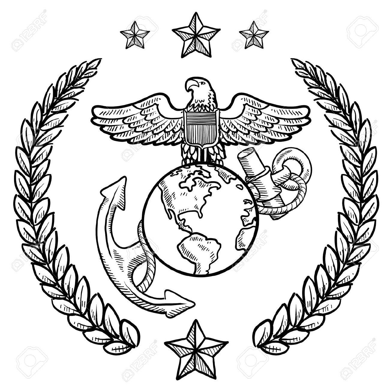 marine corps: Doodle style .