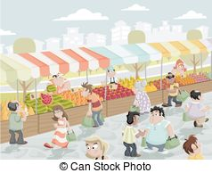 ... Market stall - Market place on a street with food and... Market stall Clip Art ...