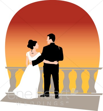 Marriage Couple Clipart. Sunset Clip Art