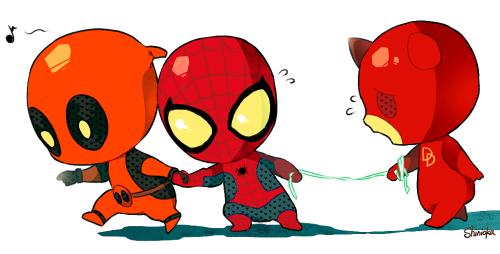 Adorable lu0027il Daredevil, Spidey and Deadpool!