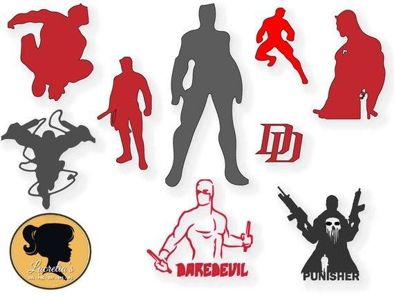 superhero Svg, Daredevil Svg , Marvel Comics, dxf, clipart, SVG files for  Silhouette Cameo or Cricut, , vector, .svg, dxf eps
