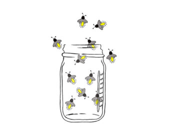 Mason Jar Image - Fireflies - Lightning bugs - Digital Clipart - PNG - JPG - Hand Drawn - Limited Commercial - Instant Download
