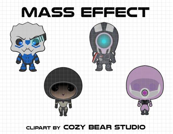Mass Effect Clipart - Garrus Vakarian, L-Mass Effect Clipart - Garrus Vakarian, Legion, Kasumi Goto, Taliu0027Zorah,  Instant Download, baby, cute, Mass Effect birthday, N7, Mass Effect from ClipartLook.com -1