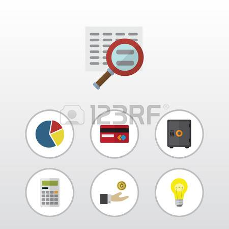 Flat Icon Incoming Set Of Calculate, Hand With Coin, Payment Vector  Objects. Also