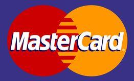 Mastercard. Logo on blue background, vector image, EPS Royalty Free Stock  Image