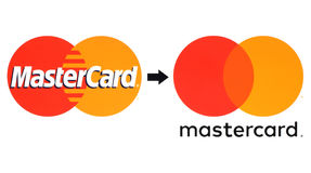 New and old Mastercard logos printed on white paper. Kiev, Ukraine - August  30