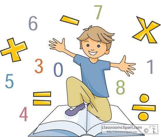 Mathematics Boy With Math Symbols And Book Classroom Clipart