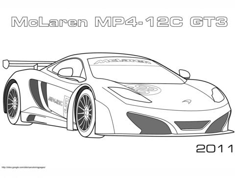 2011 McLaren MP4 12C GT3 coloring page