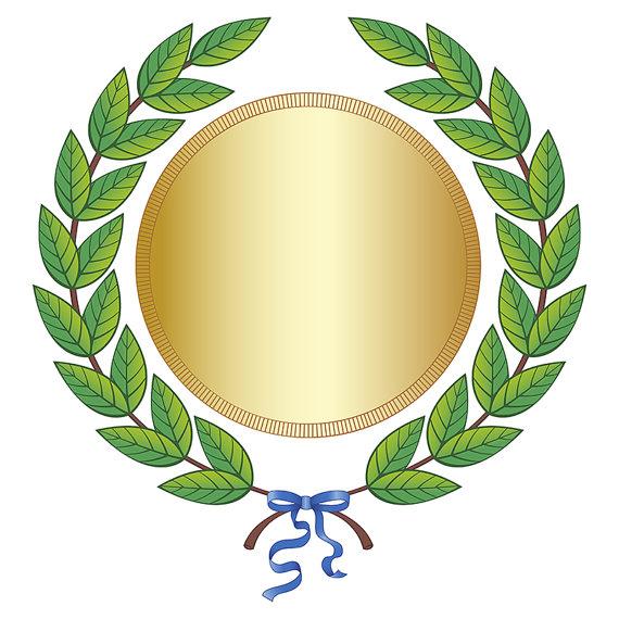 Digital Clipart Green Leaf Laurel Wreath-Digital Clipart Green Leaf Laurel Wreath Gold Medal Blue Silk Ribbon Vector  Award Background-12