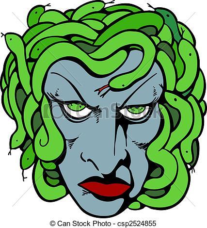 ... Medusa Head - Mythical medusa head drawing.