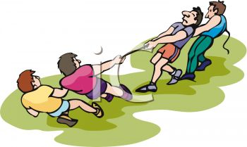 Men Having A Tug O War Contest Royalty Free Clip Art Picture