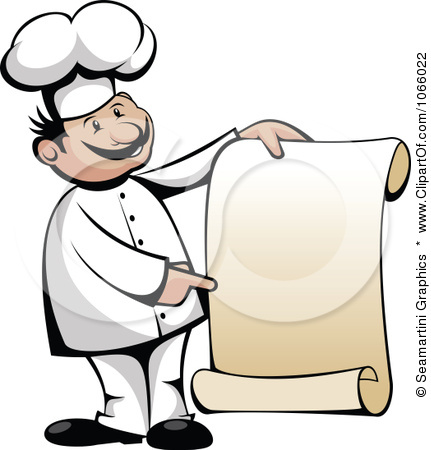 Menu Clipart 1066022 Clipart Chef Holding A Scroll Menu Royalty Free