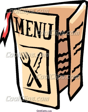 chef holding a menu clipart