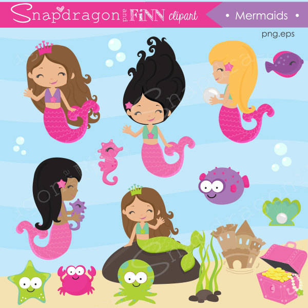 Mermaid clipart, Fish clipart, Under the Sea clipart, Cute Mermaid, Seahorse, Cute Fish, Mermaid Papers, Commercial License Included