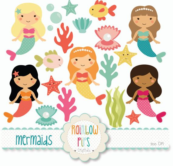 Mermaid Digital Clipart Set