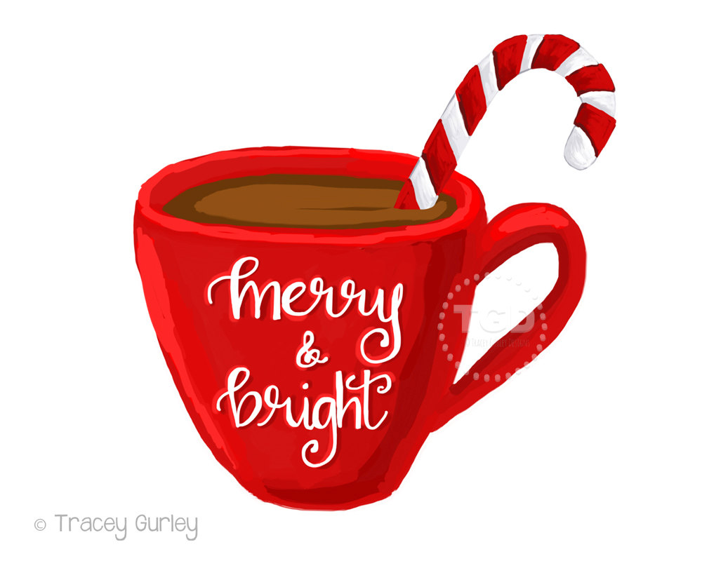 Merry and Bright hot cocoa clipart, coffee cup clipart, calligraphy mug, Christmas clipart, instant download - 2 Mugs