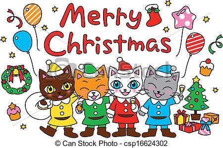 Merry Christmas, party, cats - .-Merry Christmas, party, cats - .-12