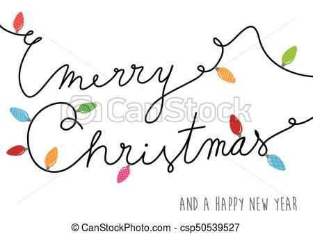 Merry Christmas text created of power cable with lots of colorful lights. -  csp50539527