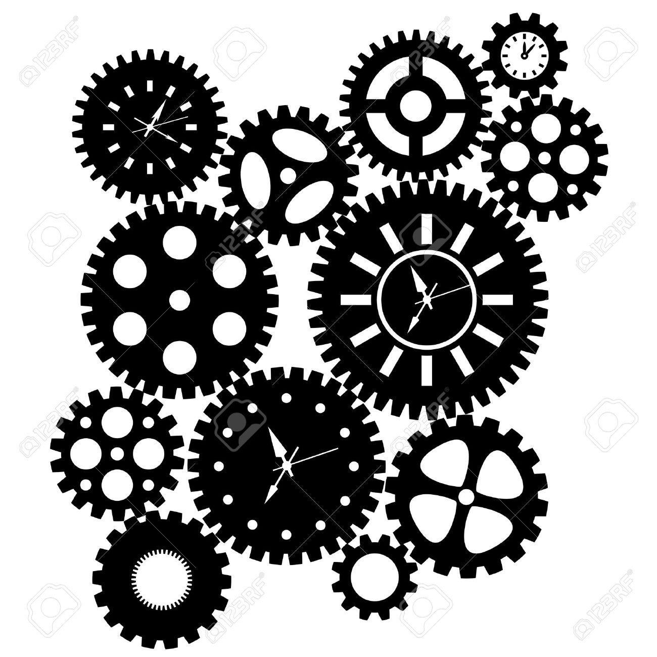 Illustration - Time Clock Gears Clipart -Illustration - Time Clock Gears Clipart Black SIlhouette Isolated on White  Background Illustration-20