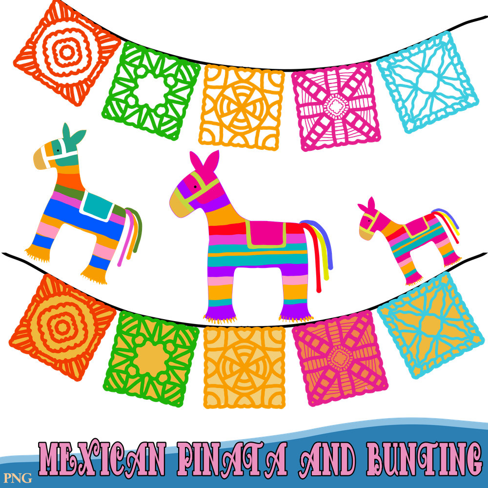 Mexican Pinatas and Bunting - Fiesta Clipart, Comes in png -Instant Download - Commercial Use, Pinata Clipart, Festival Clipart