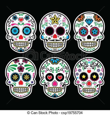 Mexican sugar skull - Vector icon set of decorated skull -... Mexican sugar skull Vector Clipartby ...