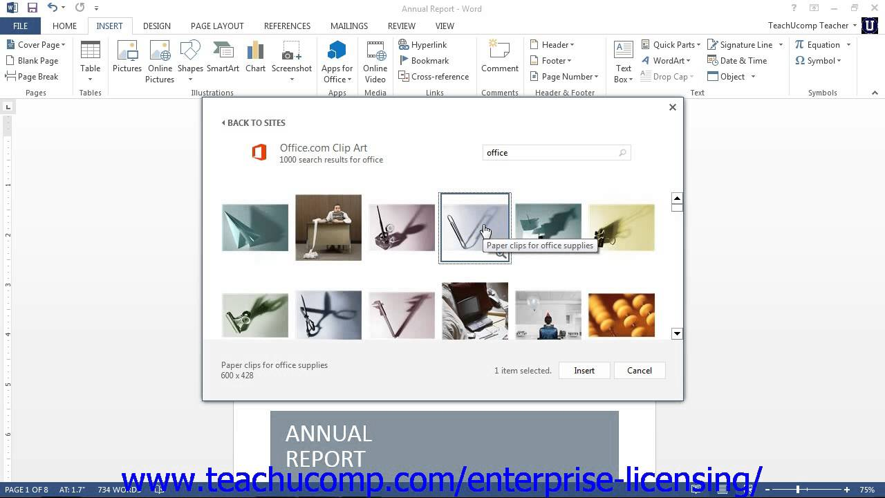 Microsoft Office Word 2013 Tutorial Using Clip Art 12.1 Employee Group Training