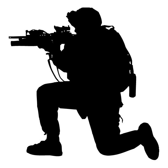 Military Silhouette Kneeling