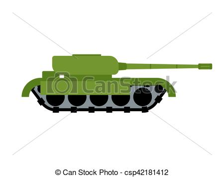 Military Tank isolated. War equipment. Army Ground Transportation -  csp42181412