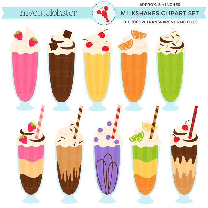 Milkshakes Clipart - Clip Art Set, Milks-Milkshakes Clipart - clip art set, milkshakes, drinks, milkshake, sundaes, shake - personal use, small commercial use, instant download-16