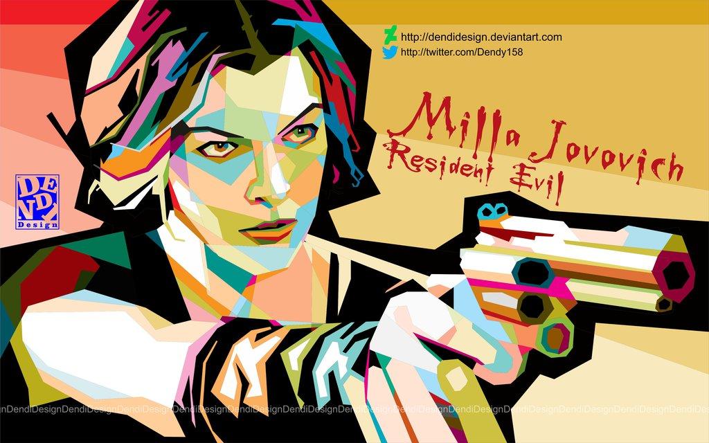 Milla Jovovich in WPAP by DendiDesign Cl-Milla Jovovich in WPAP by DendiDesign ClipartLook.com -1
