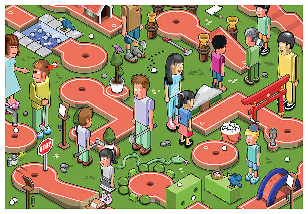 Minigolf Mayhem Vector Art Illustration-Minigolf mayhem vector art illustration-16
