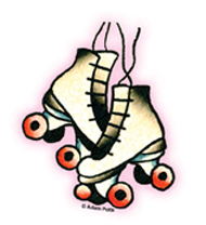 Mini Tattoo Derby Skates Sticker 25 Pack Roller Derby ...