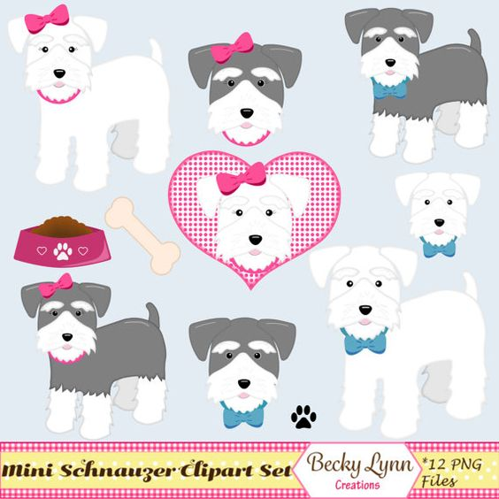 Miniature Schnauzer Dog Clip Art Digital-Miniature Schnauzer Dog Clip Art Digital Art by BeckyLynnCreations-2