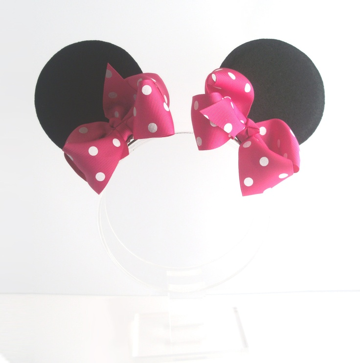 Minnie Mouse Ear Clips with Boutique Bows - Choose Red or Hot Pink Bow - Felt