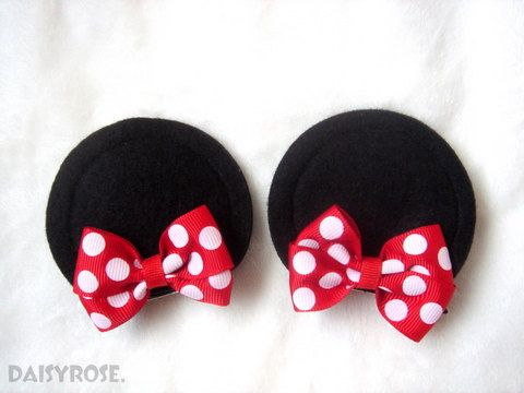Minnie Mouse Ear hair clips with red polka by LittleMissDaisyrose, $11.50