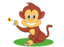 Mischevious Monkey With Match Box Clipart Size: 101 Kb