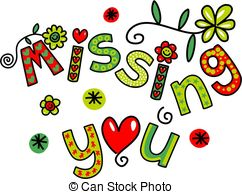 ... Missing You Doodle Text Expression - Hand drawn colorful.