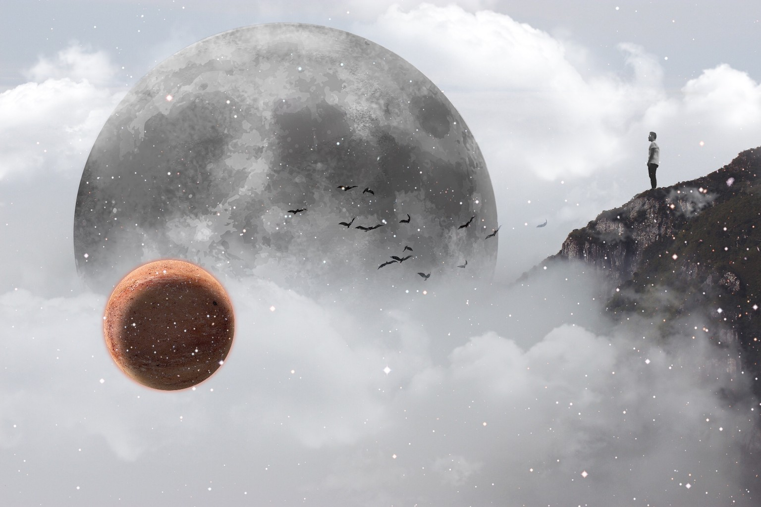 Dreamscape surreal moon cloulds mist clipart edited.