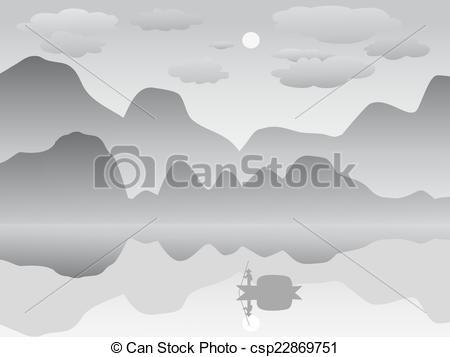 mist mountain reflection lake lands - csp22869751