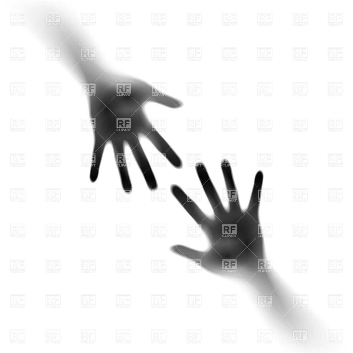 Two open hands in the mist Royalty Free Vector Clip Art