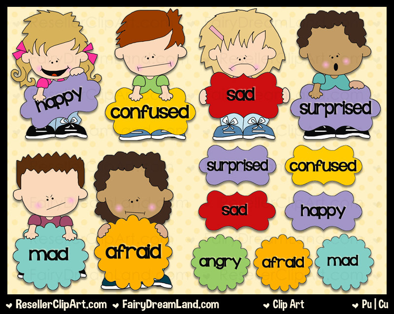 Mixed Emotions Clip Art - Commercial Use, Digital Image, Png Clipart - Instant Download - Shoe String Kid Series - Speech Bubbles, Word Art