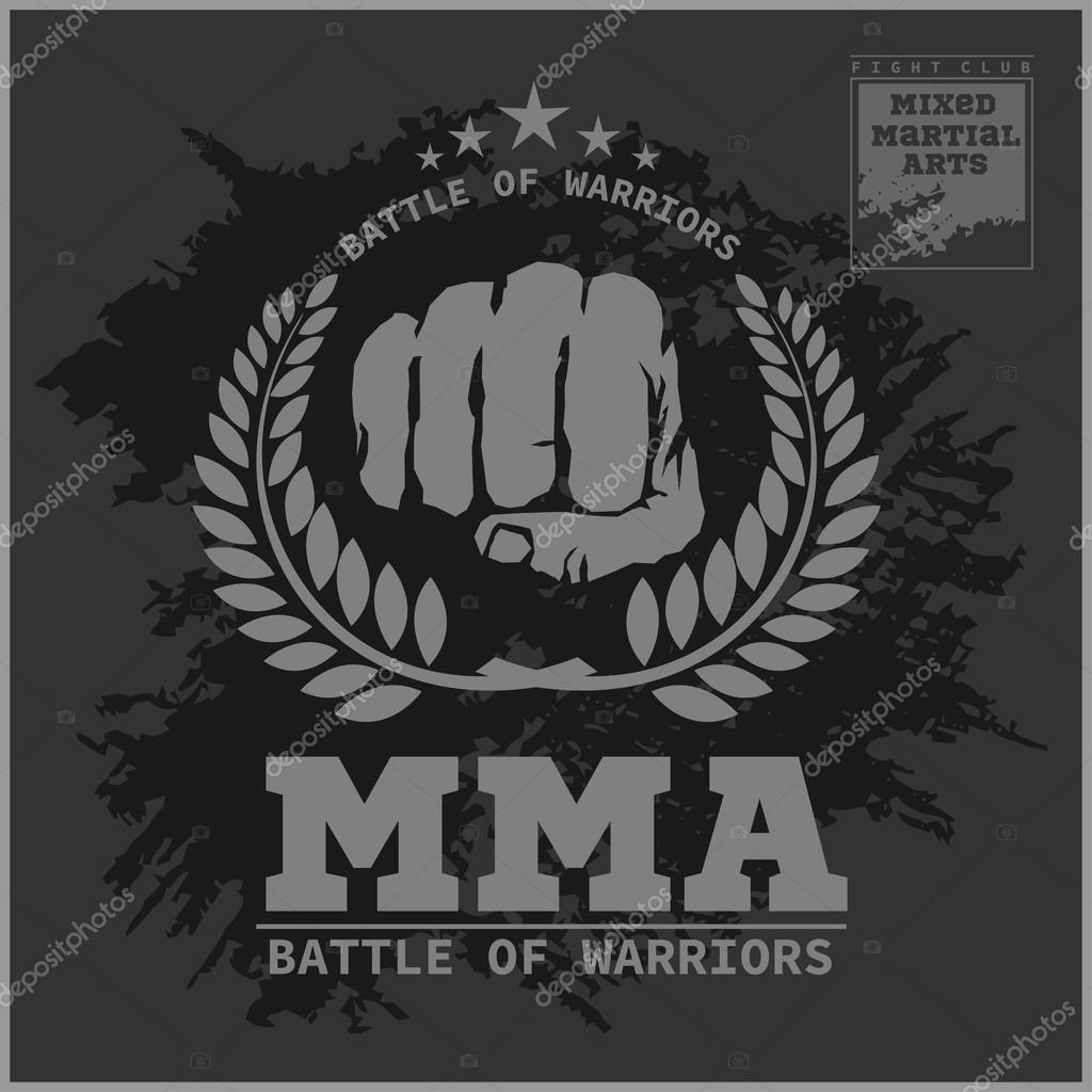 Fight club MMA Mixed martial arts fighting logo u2014 Vector by Digital-Clipart