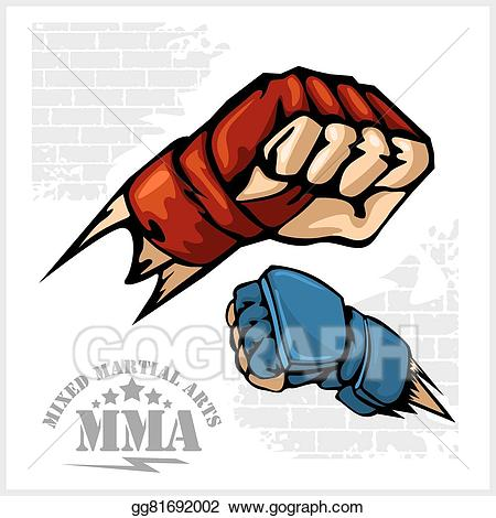 Fist punch - MMA mixed martial arts emblem badges