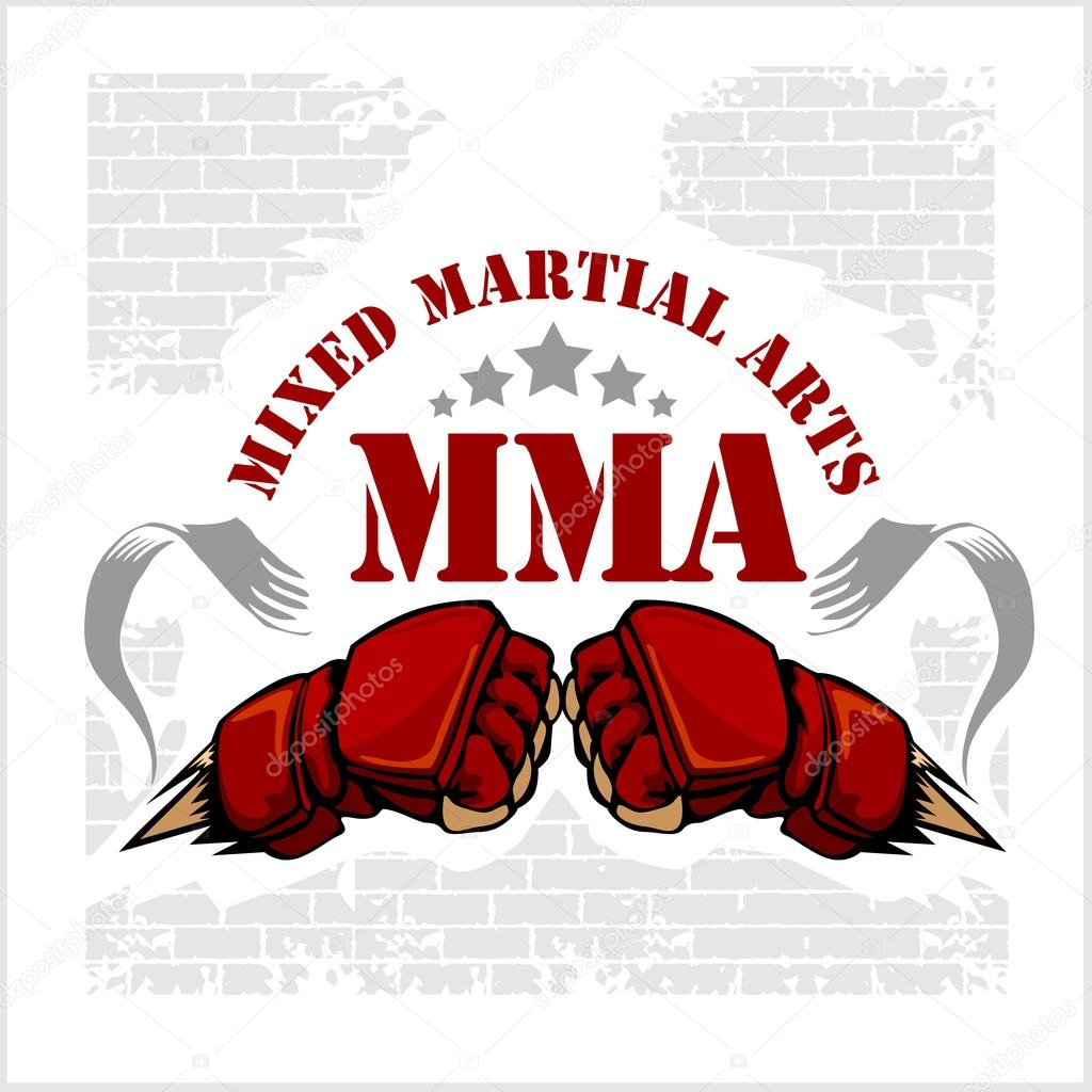 MMA mixed martial arts emblem badges. Vector emblem u2014 Vector by Digital- Clipart